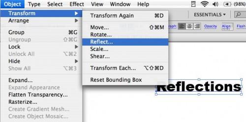 Come immagine speculare testo in Adobe Illustrator
