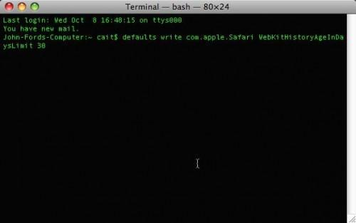 Come cambiare la storia di default display Safari su Mac OS X
