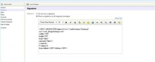 Come aggiungere musica a una e-mail di Yahoo Signature