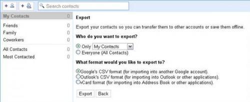 Come esportare contatti di Google