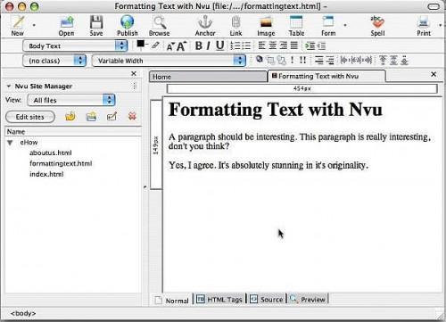 Come formattare il testo con Nvu