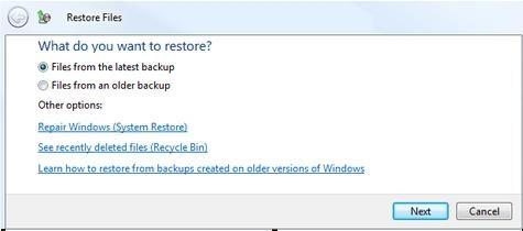 Come recuperare i file in Windows Vista
