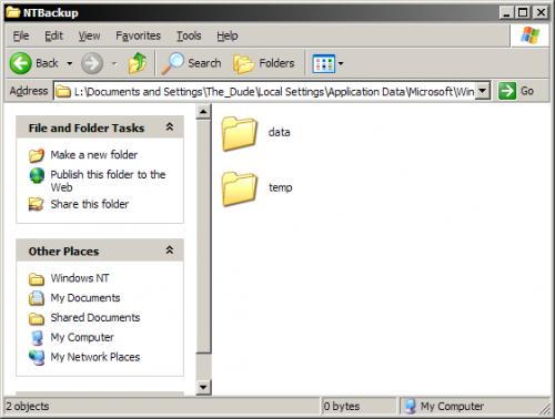 Come aumentare il file di registro di backup nello strumento Microsoft Backup per Windows XP