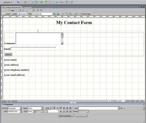 Come fare un modulo di contatto in Dreamweaver
