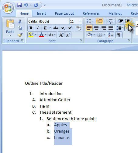 Come fare uno schema in Microsoft Word 2007