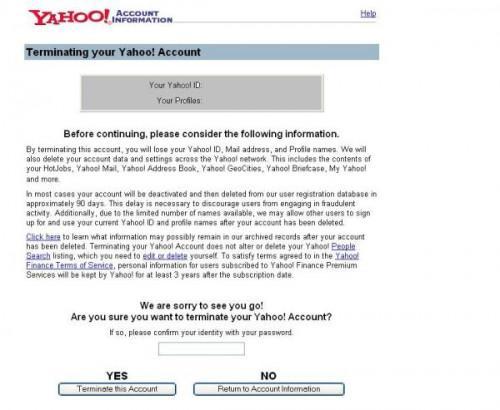 Come eliminare il tuo account di posta elettronica Yahoo, IM, o profilo