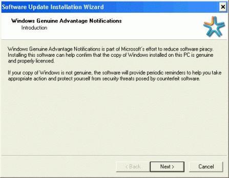 Come smettere di installazione guidata da installare Windows Genuine Advantage di notifica