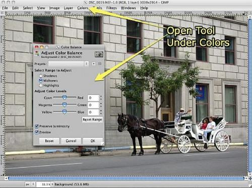 Come per regolare il bilanciamento del colore in GIMP